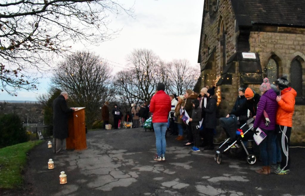 Carol Singing outside the Chapel, Stag Hill, Kimberley